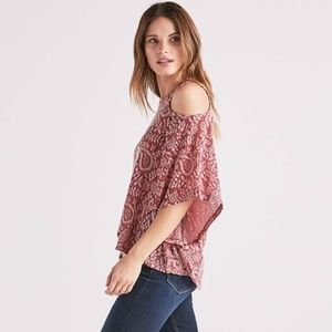 NWT Lucky Brand Paisley cold shoulder blouse